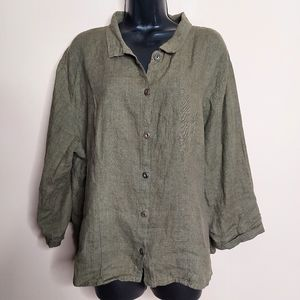 Flax loose fitting linen button up shirt